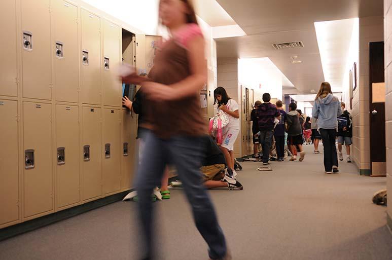 hallway with lockers